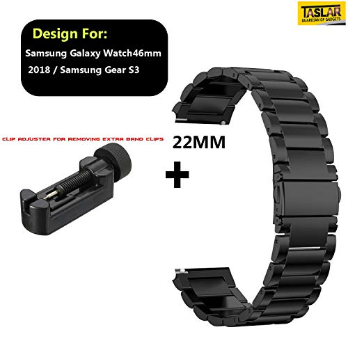 TASLAR Stainless Steel Metal Band Strap Wristband with Buckle Adjuster for Samsung Galaxy Watch 46mm 2018 / Samsung Gear S3 (Black)