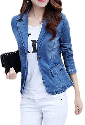 Womens Casual Blazer Suit Jacket Jean Lapel Denim