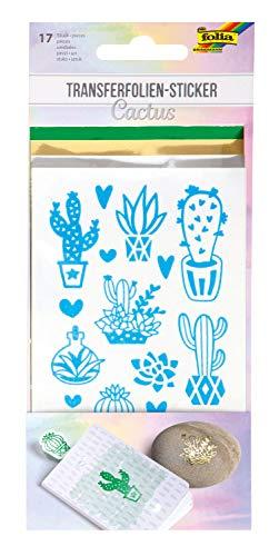 Folia 17203 Cactus, 17 dubbelzijdig klevende stickers inclusief 3 transferfolies, voor het versieren van wenskaarten, voor scrapbooking en handlettering, kleurrijk, één maat