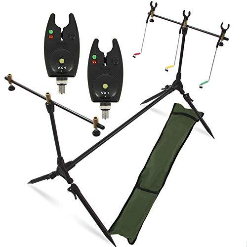 G8DS® Set Rod Pod Rutenhalter + Tragetasche inklusive 2 Bissanzeiger mit Lautstärkeregler Karpfen Angeln