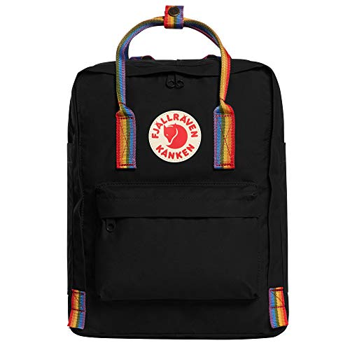Fjällräven Unisex Adult Kånken Rainbow Backpack - Black-Rainbow Pattern, 27 x 13 x 38 cm/16 Litre