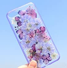 iPhone 8 Case/iPhone 7 Case(4.7inch),Blingy's Real Beautiful Dry Flower Series Transparent Clear Soft TPU Clear Protective Case for iPhone 8/iPhone 7 (Solid Purple Flowers)