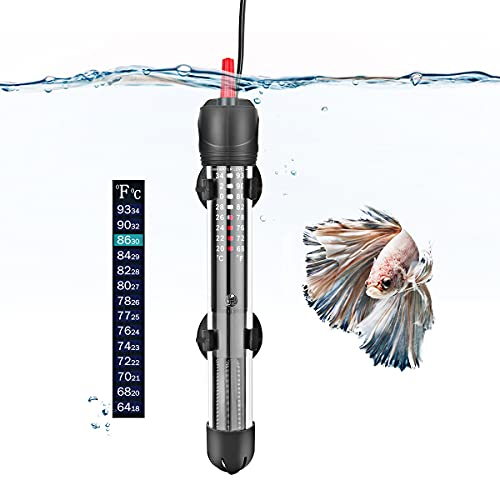 FEDOUR Aquarium Heizung, 50W 100W 300W Temperatur Einstellbare Aquarium Heizer Mit Saugnäpfen,Thermostat für Fischtanks (50W)