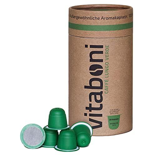 Vitaboni - BIO LUNGO VERDE | 30 nachhaltige Kaffeekapseln für Nespresso®¹-Kapselmaschinen | BIO-Kaffee aus Kolumbien & Uganda | kompostierbare & alufreie Kaffeekapseln | Nespresso®¹ kompatibel