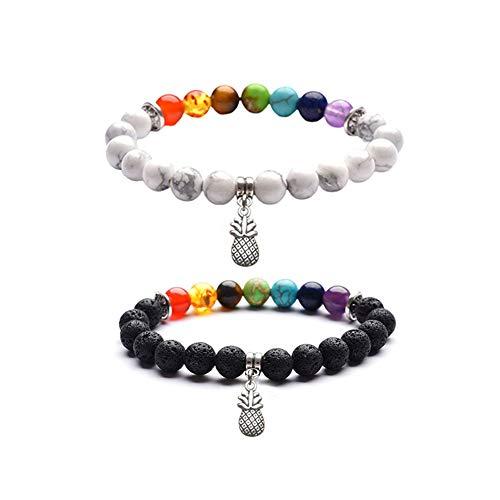 Fashion Natural Stone Bead Bracelet Buddha head Black Lava Stone Bangle For Men Women Charm Jewelry (A:Turquoise Chakras+Lava Chakras)