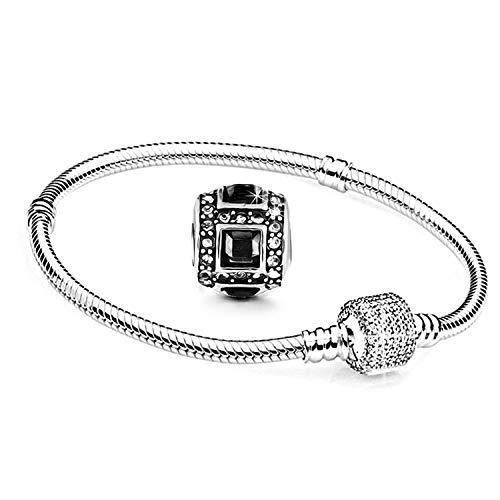 GERBERA Charms Armband und 1 Anhänger Starter Set Angebot Zirkonia Murano Glas bettel Pandora Style kompatibel Schmuck 21cm