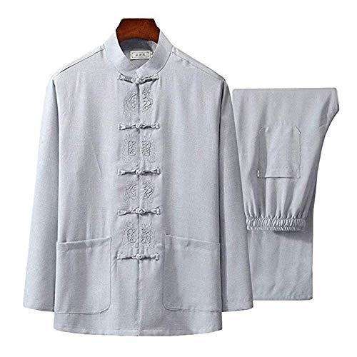 Tai Chi Kleidung Damen,Herren Mann Tai Chi Kleidung Uniform Anzug Qi Gong Kampfkunst Wing Chun Shaolin Kung Fu Hemd Trainingskleidung Bekleidung Bekleidung,White-170