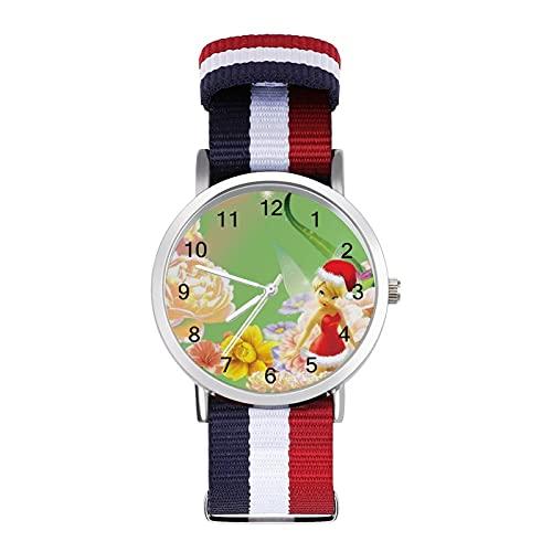 Movie Tinker Bell - Reloj de cristal con espejo de escala trenzada, informal, adecuado para oficina, escuela, hombres y mujeres