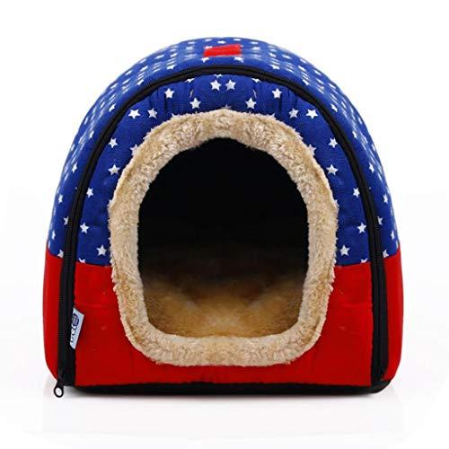 Hundehöhle Katzenhöhle Hundebett Katzenbett Katze / Hundebett weiche warmer Stern Muster 2 in 1 Haustier-Nest-Anti-Rutsch-Hundekatze-Bett faltbare Winterfußsäcke Schlafsack-Matten-Auflage-Kissen