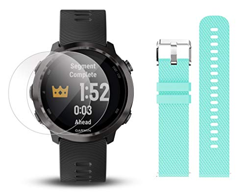 Garmin Forerunner 645 Music Bundle with Extra Band & HD Screen Protector Film (x4) | Running GPS Watch, Wrist HR, Music & Spotify, Garmin Pay (Slate + Music, Teal)