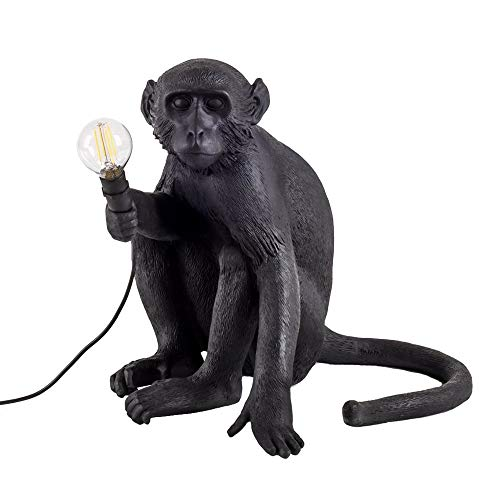 JIAQI Lampe de Table Singe en résine 34 * 30 * 42cm (Couleur : Noir)