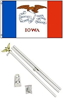 ALBATROS 2 ft x 3 ft 2x3 State of Iowa Flag White with Pole Kit Set for Home and Parades, Official Party, All Weather Indoors Outdoors