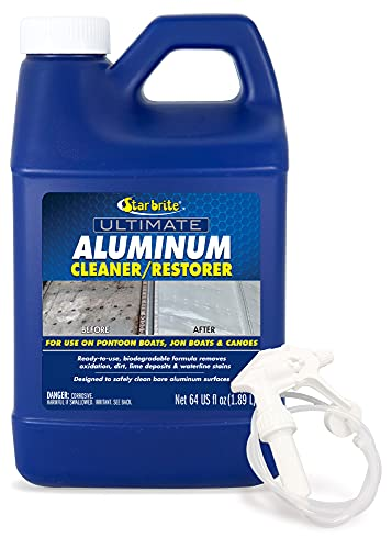 STAR BRITE Ultimate Aluminum Cleaner & Restorer - Safely Clean Pontoon Boats, Jon Boats & Canoes - 64 OZ with Sprayer (087764)