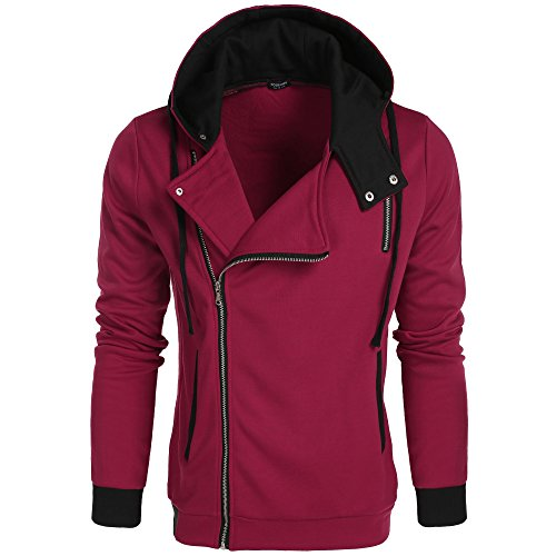 COOFANDY Men's Fashion Thicken Hoodie Sweatshirts Zip Up Casual Slim Fit Contrast Color Jacket (Large, Burgundy)