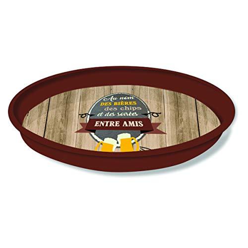 Le Petit Prince [Q3793 - Plateau Rond métal 'Messages' (Au nom des bières des Chips et des soirées Entre Amis) - 33 cm