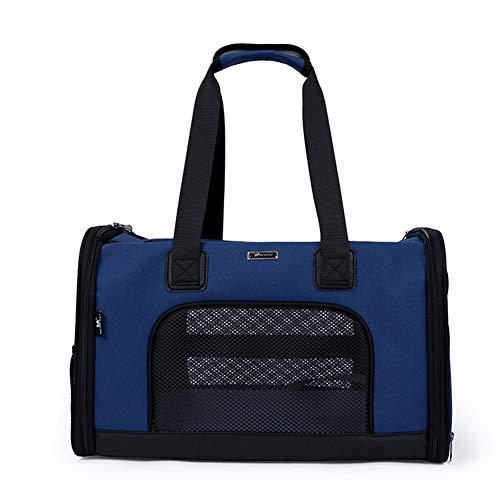 XDYFF Sacs de Transport pour Chien Chat Portable Ceintures de sécurité sous Le siège Travel Carrier Travel Pet Carrier pour Petits Chats et Chiens,Blue