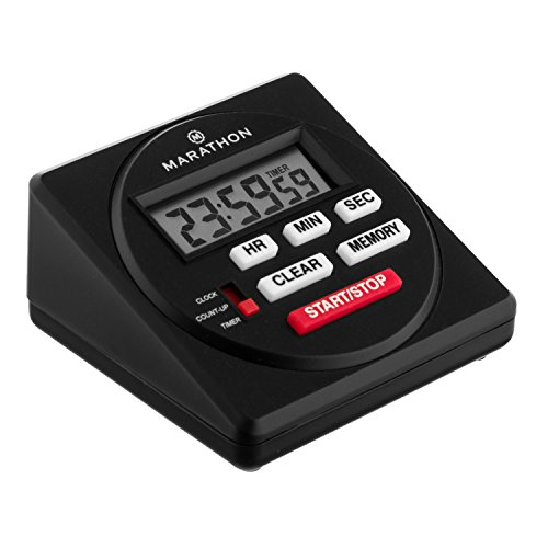 Marathon 24 Hour Digital Timer with Countdown, Count-up and Clock Feature - Batteries Included (Table Timer Black)