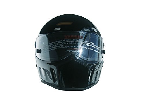 CRG Sports ATV Motocross Motorcycle Scooter Full-Face Fiberglass Helmet DOT Certified ATV-1 - Parent (X-Small, Glossy Black)