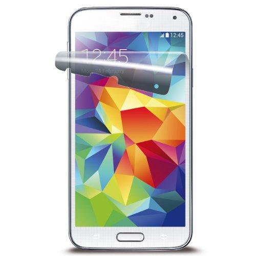 Cellular Line SPGALS5 Displayschutzfolie inkl. Microfasertuch, Staubentferner für Samsung Galaxy S5 (blasenfrei, 2-er Pack) transparent