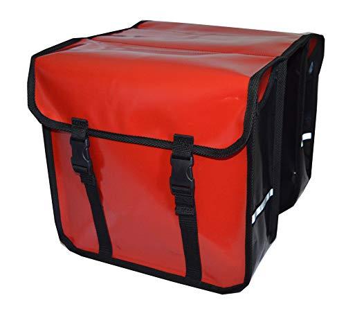 Aves-24 FAHRRADTASCHE Gepäckträgretache Fahrrad Doppel Tasche Gepäckträger 28L PCV (Rot)