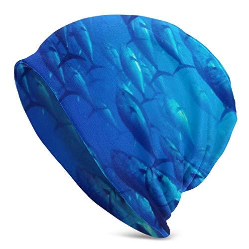 Taroot AA Bonnet de pêche au Thon Bleu léger Turban élastique Ample et Souple pour Hommes et Femmes, Bonnets de Confinement