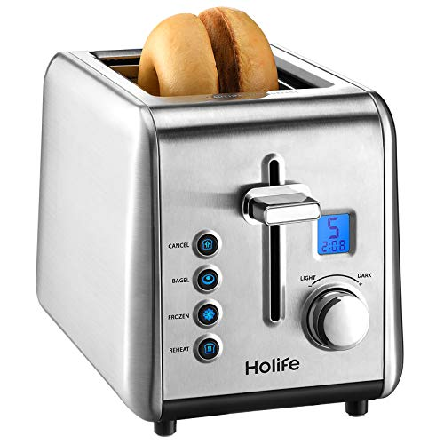 Toaster 2 Slice, Holife [Upgraded LCD Countdown]Bagel Toaster Compact Brushed Stainless Steel Toaster (6 Shade Selector, Bagel/Defrost/Reheat/Cancel, High-lift/Extra Wide Slot/Silver)