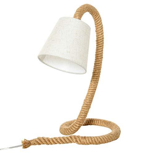 homcom Lampada da Tavolo Stile Marinaro in Corda e Tessuto, Attacco E14, Abat Jour per Casa e Ufficio