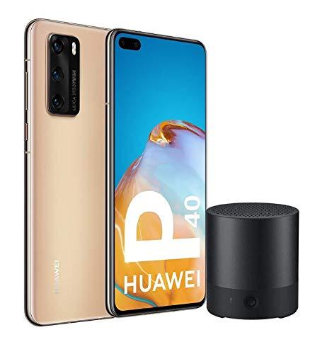 "Oferta de Huawei P40 Pro 5G - Smartphone de 6,58"" OLED (8GB RAM + 256GB ROM, Cámaras Leica (50+40+12+TOF), zoom 50x, Kirin 990 5G, 4200 mAh, EMUI 10 HMS) oro + CM510 [Versión ES/PT]"