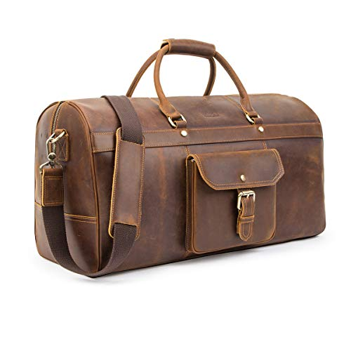 Contacts Genuine Leather Gym Sports Weekender Overnight Totes Weekend Travel Duffel Bag Handbag Coffee
