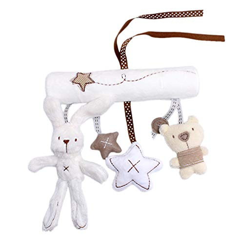 heavKin-Home Infant Baby Kids Star Bear Rabbit Rattle Bed Stroller and Bed Spiral Hanging Toys (White, 1PC)