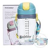 Bebamour Sippy Cup para bebé 6-12 meses A prueba de derrames Sippy Cup con paja para niños Botella de agua con taza de silicona suave para niños pequeños, sin BPA, 300 ml, Blue