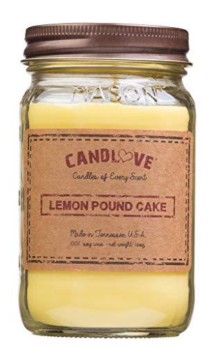 Candlove Lemon Pound Cake Scented 16oz Mason Jar Candle 100% Soy Made in The USA