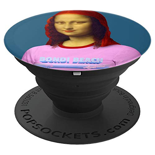 Resting Beach Face Mona Lisa with Bondi Beach PopSockets Grip and Stand for Phones and Tablets