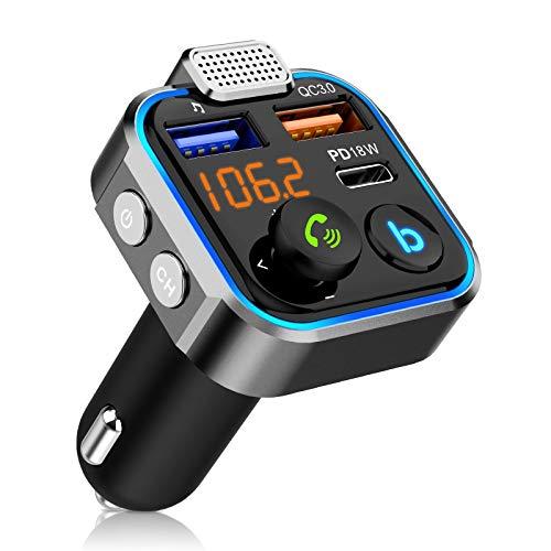 DEKNEI Transmetteur FM de Voiture, adaptateur Radio Sans Fil Bluetooth 5.0 FM Avec Port USB QC3.0 de Type C, Carte TF de Support et Lecture U-Disk, Appel Mains Libres, universel pour voitures 12V-24V
