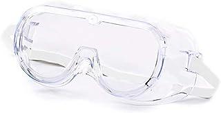 Gafas Protectoras contra Virus con Marco Flexible de PVC Blando, Lente Transparente Antivaho de Policarbonato, Ventilación Indirecta, Correa Ajustable Blanca. Ajustar sobre Gafas Graduadas
