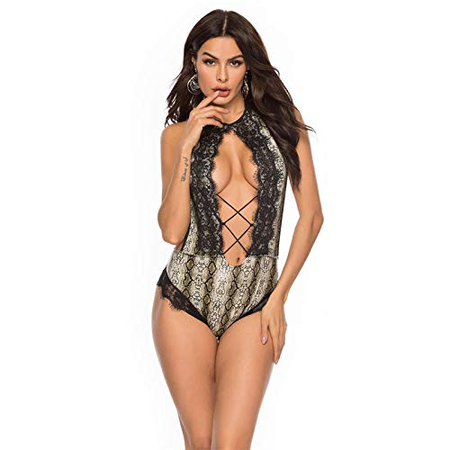 FONXOS Damen-Reizwäsche Reizwäsche Sexy Dessous Einteiligen Body Suit Sexy Uniform Einteiligen Badeanzug BH Stripper Kleidung Fishnet-As_Shown_XXL