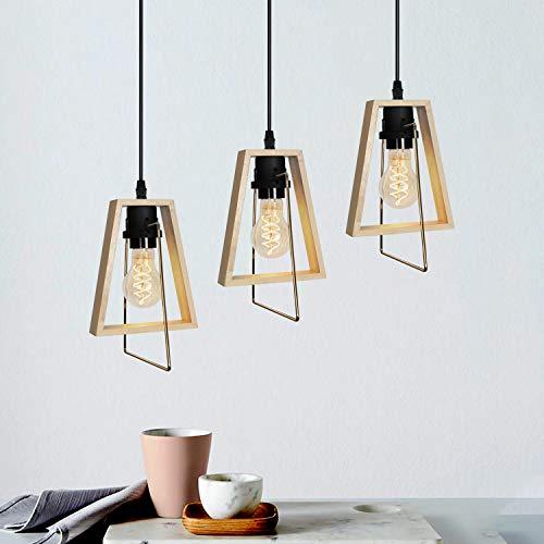 GBLY Pendelleuchte Holz Vintage Esstischlampe 3 flammig E27 120cm Höhenverstellbare Hängelampe rustikal Pendellampe Deko Hängeleuchte für Wohnzimmer Schlafzimmer Flur Küche Bar (ohne Birne)