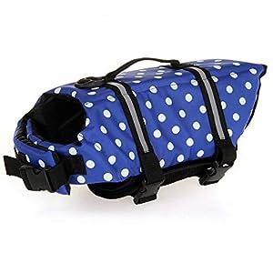 HAOCOO Dog Life Jacket Vest Saver Safety Swimsuit Preserver with Reflective Stripes/Adjustable Belt Dogs?Blue Polka Dot,XXS
