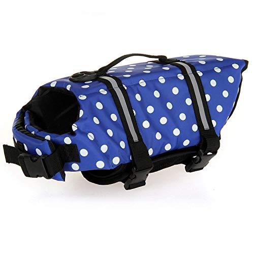 HAOCOO Dog Life Jacket Vest Saver Safety Swimsuit Preserver with Reflective Stripes/Adjustable Belt Dogs?Blue Polka Dot,S