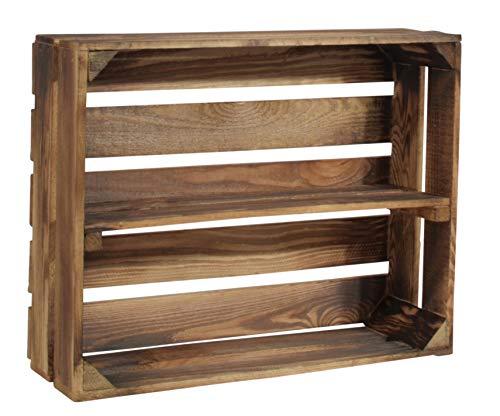 CHICCIE Caja de madera flameada Schmalhanz – Con estante largo para especias, libros, vino, 50 x 40 x 15 cm (con estante largo, 1)