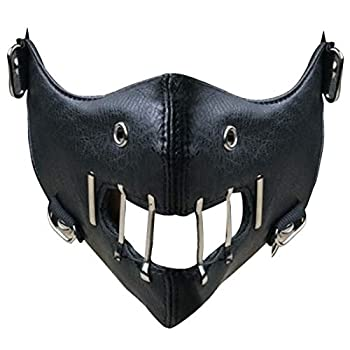 The Silence of The Lambs Hannibal Lecter Masks Steel Teeth PU Leather Movie Half Face Mask Halloween Party Props