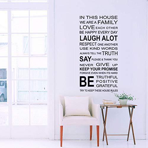 LETAMG Wandsticker Englische Sprüche DIY Wandaufkleber Familie Haus Regeln Aufkleber An Der Wand Zimmer Home Decor Art Decals Tapete Dekoration Geschenk