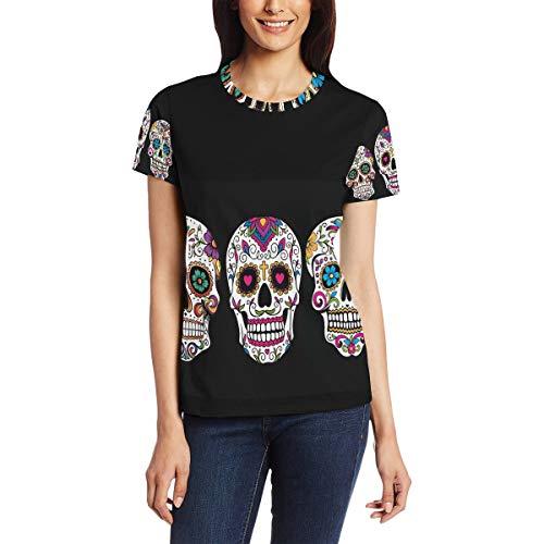 Camiseta para Mujeres niñas Patrón de Arte Calavera de Azúcar Dia De Los Muertos Manga Corta Personalizada Mexicana