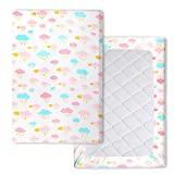 Waterproof Pack n Play Playard Sheets Mattress Sheet Stretchy Fitted Mini Crib Sheets Cover Pad, Soft Cloud 40' x 27.6'