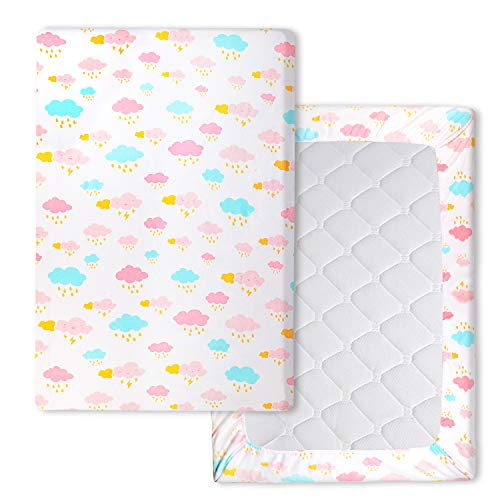 Waterproof Pack n Play Playard Sheets Mattress Sheet Stretchy Fitted Mini Crib Sheets Cover Pad, Soft Cloud 40' x 27.6'