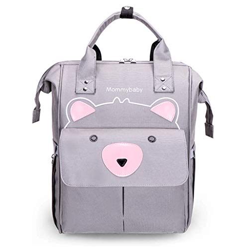 PHILSP Diaper Bags Diaper Bag Backpack Cartoon Bear Baby Nappy Changing Mummy Maternity Bags Grey