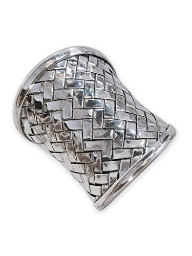 Fly Style - Breiter Silber Ring aus 925 Sterling Silber - geflochten/gewebt, Ring Grösse:17.8 mm
