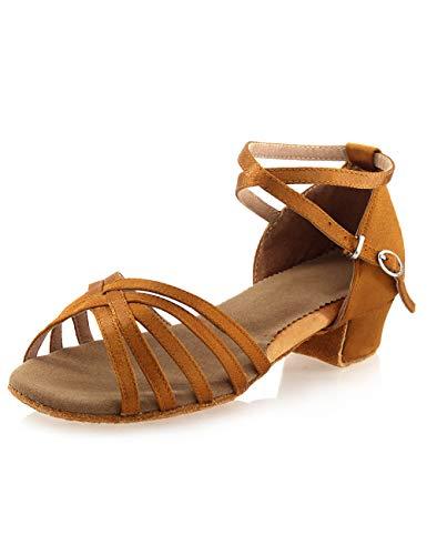 Girls Latin Dance Shoes Tan 1.5 Inches Low Heels Tango Salsa Ballroom Shoes (2 Big Kid)
