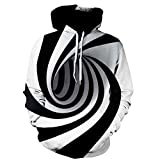 Men Hooded Sweatshirts Realistic 3D Print Digital Vortex Pullover Hoodie Funny Pattern with Pockets (XXXXXL, Black)