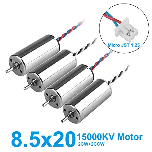 MakerStack 4pcs 8250 Motor 8.5x20mm 15000KV Bürstenmotoren 1.0mm Welle mit Micro JST 1.25 2P-Stecker CW CCW 8520 Coreless Motoren für Tiny 8X RC Drone Quadcopter